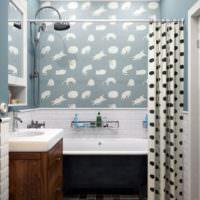 Шторка в ванной комнате в стиле прованс
