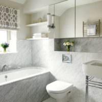 Светлый мрамор в отделке ванной