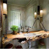Дерево в интерьере ванной комнаты