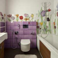 Цветы в интерьере ванной комнаты