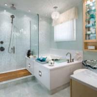 Дизайн просторной ванной комнаты с душем