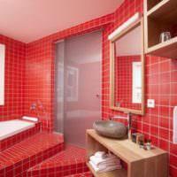 Красный кафель в дизайне ванной