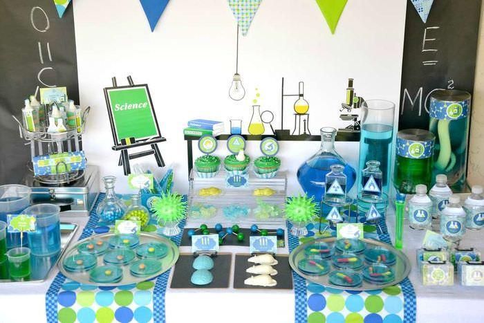 Оформление праздничного стола на день рождения юного химика