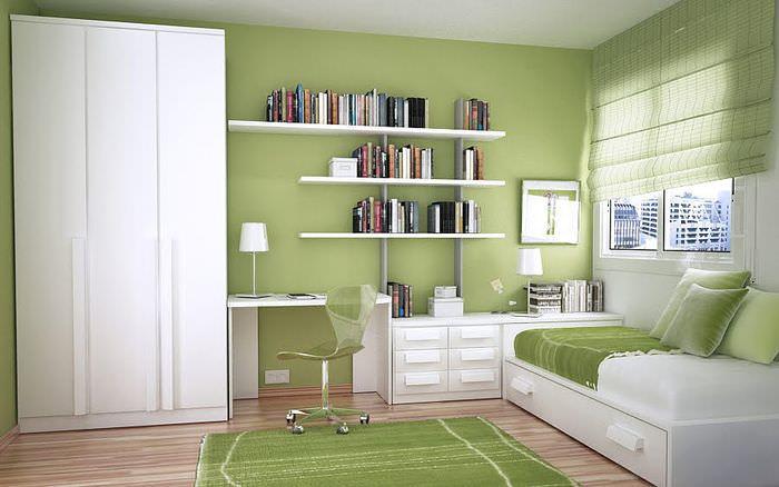 Дизайн кабинета с участием оливкового цвета