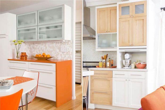 Дизайн кухни с оранжевой столешницей и яркими аксессуарами