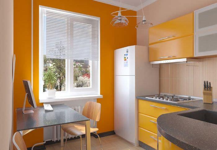 Дизайн интерьера кухни в оранжевом цвете