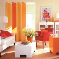 Оформление жилой комнаты с использованием оранжевого цвета