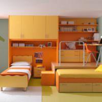 Интерьер детской комнаты в оранжевых тонах