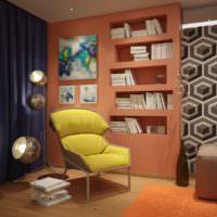 Оранжевый цвет в интерьере кабинета