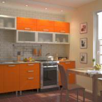 Подсветка оранжевого фасада кухонного гарнитура