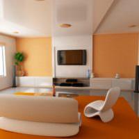 Современная гостиная с оранжевым ковром