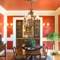 Освещение гостиной в оранжевом цвете