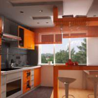 Японские мотивы в оранжевой кухне
