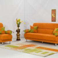 Мягкая мебель с тканевой обивкой оранжевого цвета