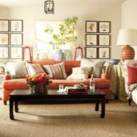 Оранжевая мебель в интерьере жилой комнаты