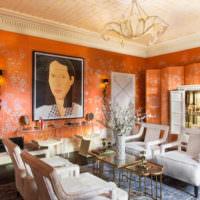Оранжевые обои в интерьере жилого помещения