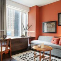 Серый и оранжевый цвета в интерьере спальной комнаты