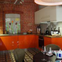 Оранжевый цвет на кухне в стиле лофт