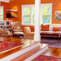 Декорирование гостиной в оранжевом цвете