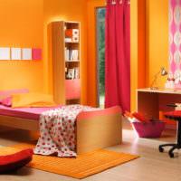 Яркие оранжевые оттенки в дизайне спальни
