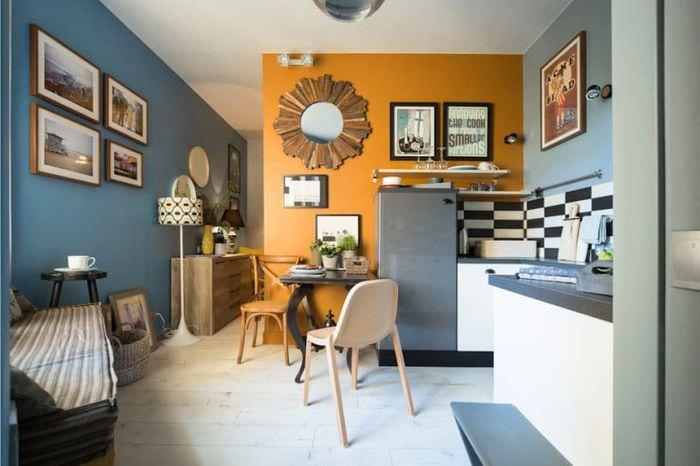 Дизайн кухни в ретро стиле с использованием оранжевого цвета в покраске стен