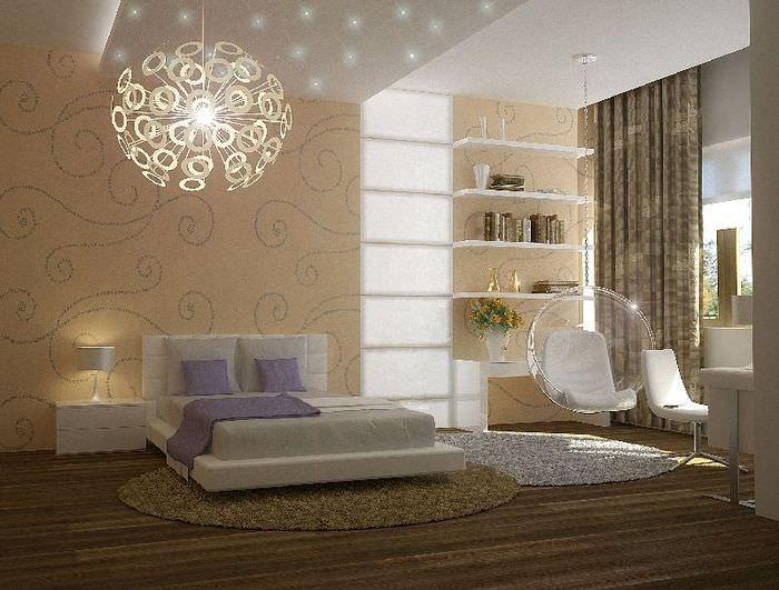 Декоративный потолочный светильник в спальне городской квартиры
