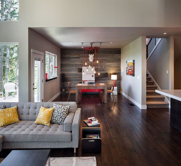 Использование ламина в отделке интерьера гостиного помещения