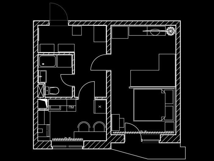 Типовой проект однокомнатной квартиры со стеклянной перегородкой
