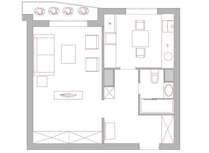 Схема перепланировки однокомнатной квартиры для проживания одного человека