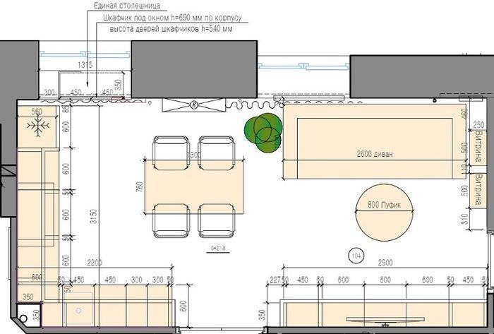 Схема планировки кухни-гостиной в городской квартире