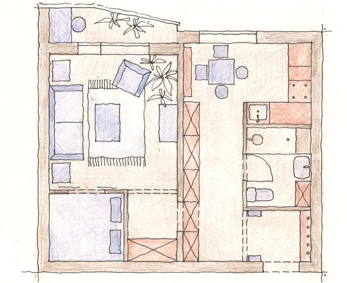 Схема планировки однокомнатной квартиры в для проживания двух человек