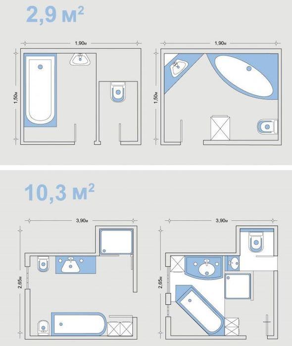 Схемы планировки ванной комнаты различных размеров