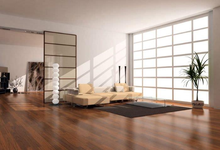 Дизайн гостиной в восточном стиле с отделкой пола панелями из ламината