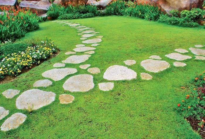 Пошаговая дорожка из природного камня в частном саду