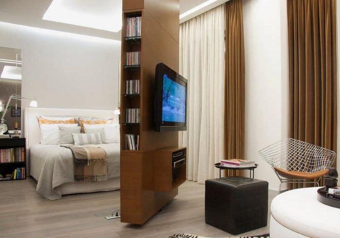 Поворотная перегородка в интерьере квартиры для мужчины