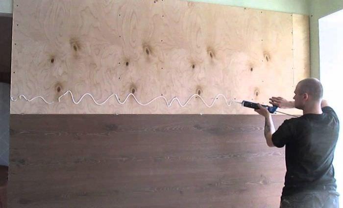 Наклейка ламинатных панелей на фанеру своими руками
