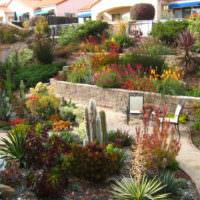 Многоуровневый сад с подпорными стенками