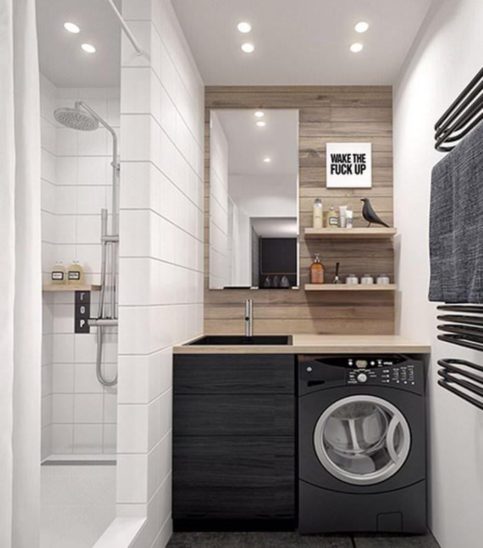 Стиральная машина рядом с раковиной в дизайне ванной