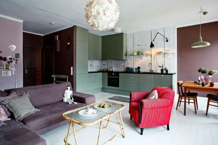 Зонирование кухни-гостиной площадью 15 кв метров с помощью цвета