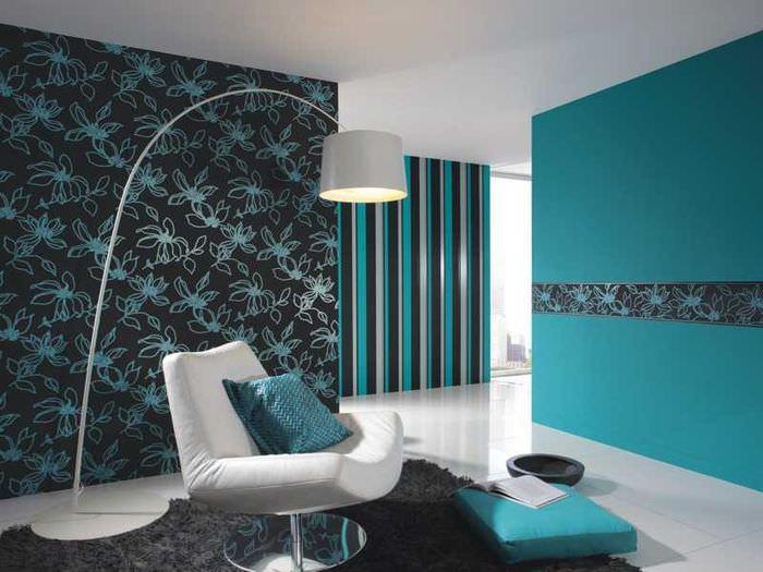 Использование разных обоев в дизайне гостиной