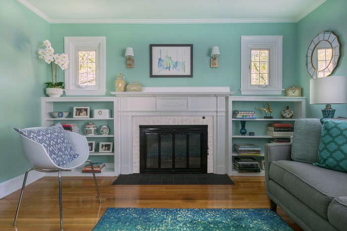 Мятный цвет в интерьере гостиной комнаты