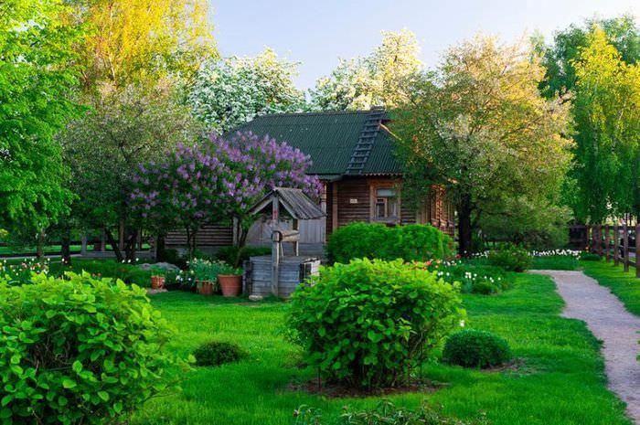 Ландшафтный дизайн дачного участка в стиле русской усадьбы