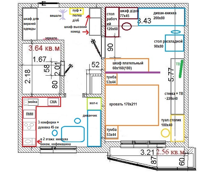 Схема расстановки мебели в однокомнатной квартире панельного дома