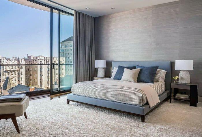 Дизайн спальни в спокойных тонах для стиля минимализма