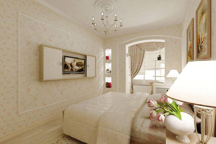 Интерьер спальни, совмещенной с балконом