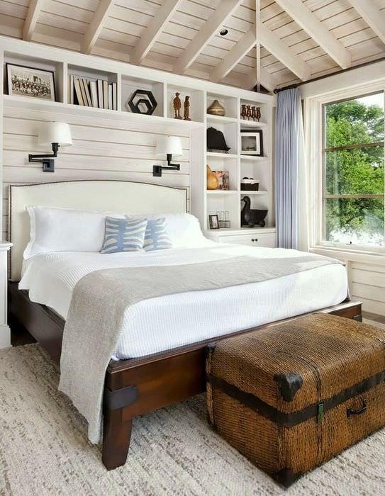 Дизайн спальни частного дома в стиле кантри