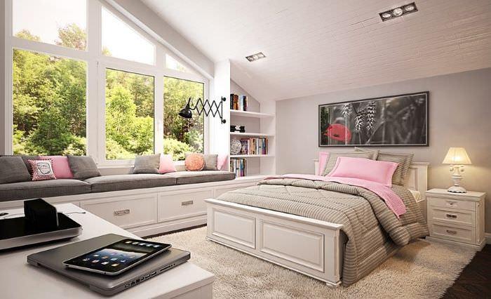 Дизайн спальни загородного дома в мансарде