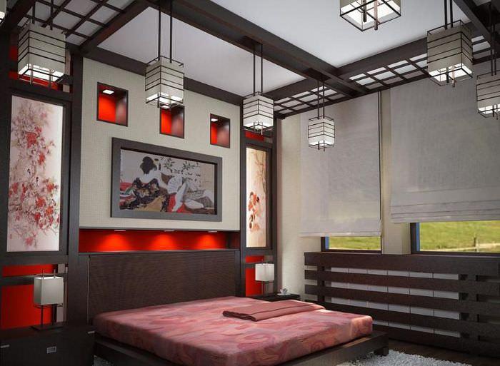 Стильная спальня с потолочными балками в японском стиле