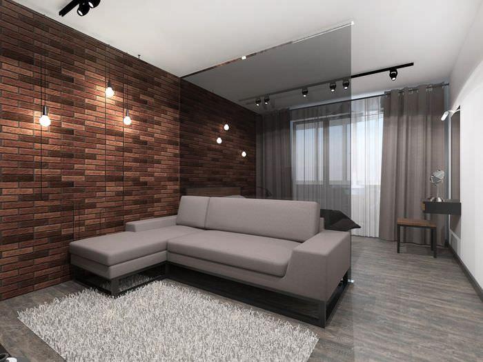 Стеклянная перегородка в однокомнатной квартире в панельном доме серии п44т