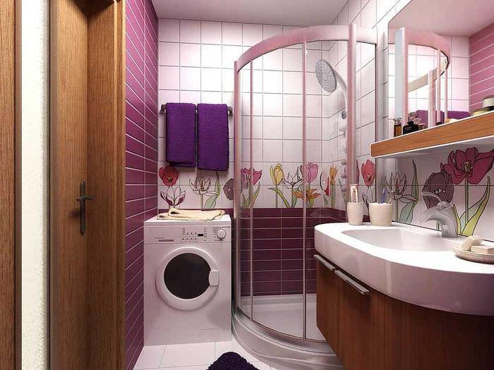 Дизайн малогабаритной ванной комнаты с душевой кабиной и стиральной машиной